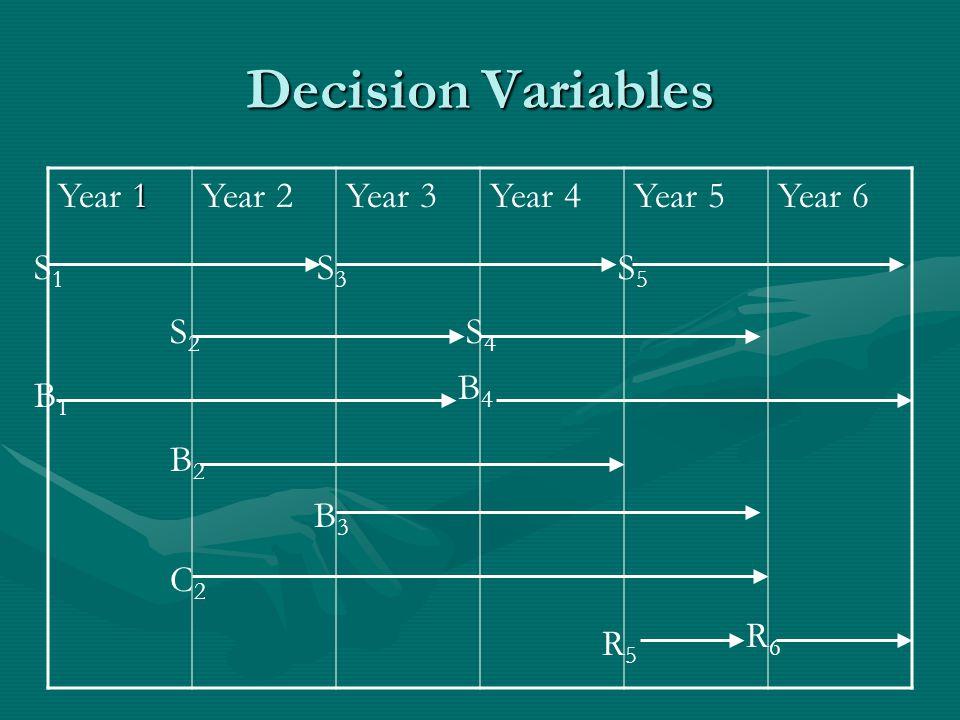 Decision Variables 1 Year 1Year 2Year 3Year 4Year 5Year 6 S1S1 S3S3 S5S5 S2S2 S4S4 B1B1 B4B4 B2B2 B3B3 C2C2 R5R5 R6R6