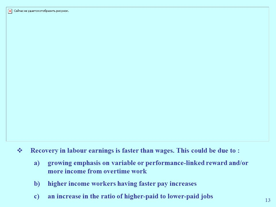13  Recovery in labour earnings is faster than wages.