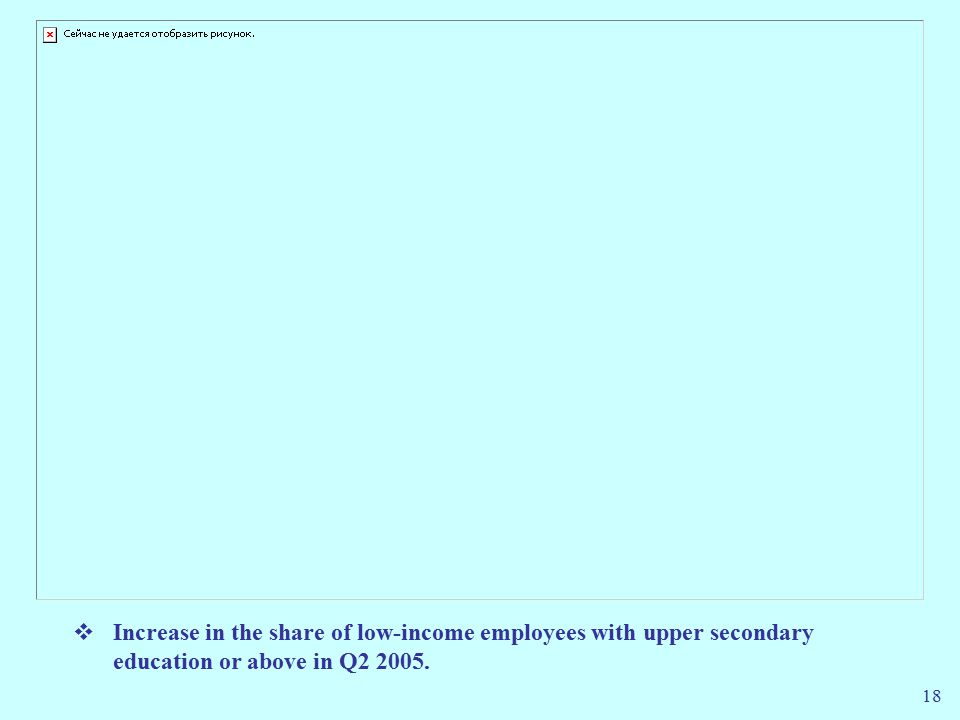 18  Increase in the share of low-income employees with upper secondary education or above in Q2 2005.