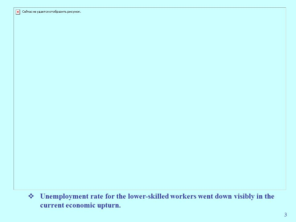 3  Unemployment rate for the lower-skilled workers went down visibly in the current economic upturn.