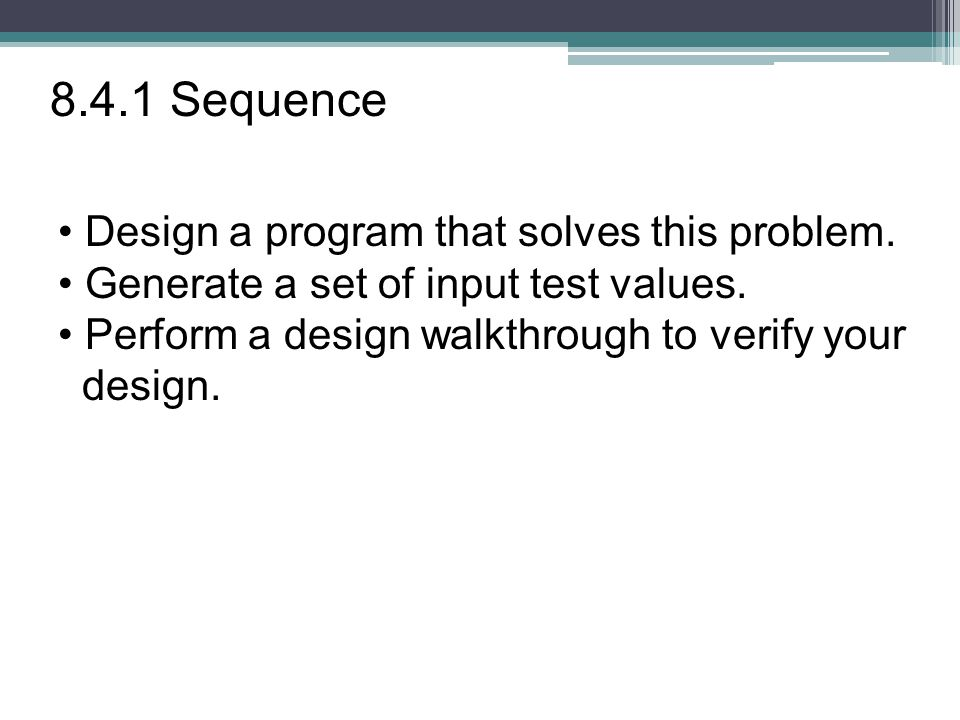 Design a program that solves this problem. Generate a set of input test values.