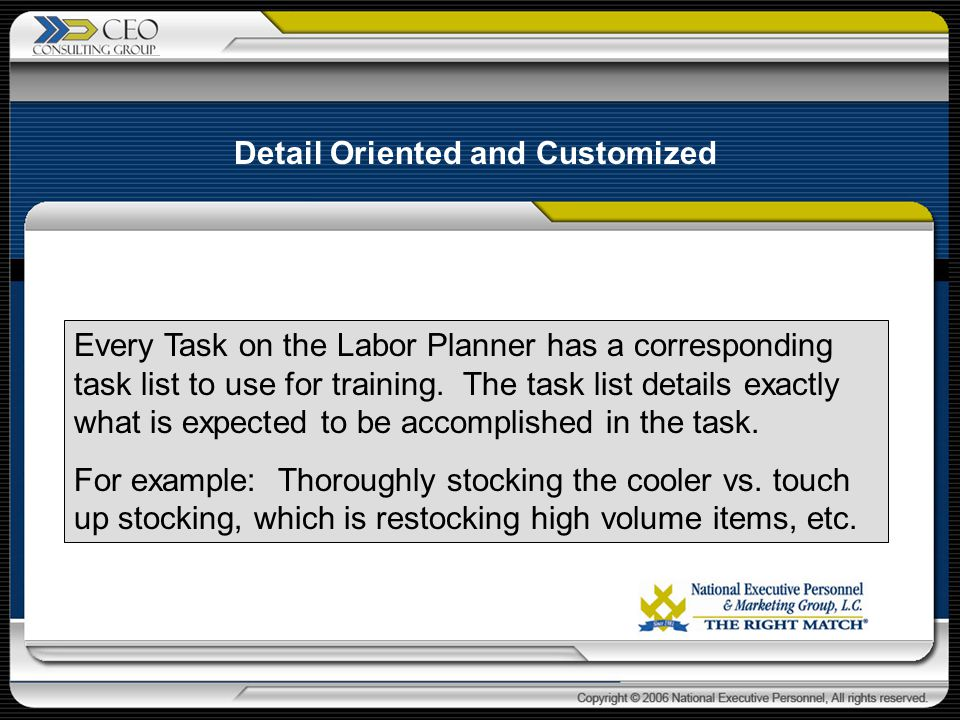 Every Task on the Labor Planner has a corresponding task list to use for training.