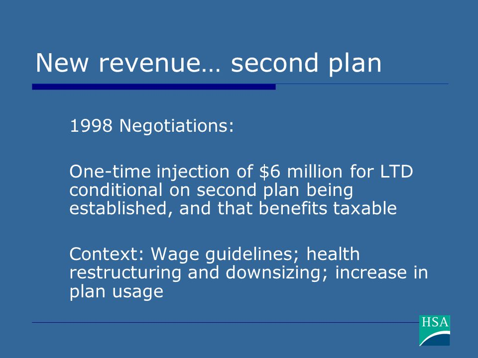 New revenue… second plan 1998 Negotiations: One-time injection of $6 million for LTD conditional on second plan being established, and that benefits t