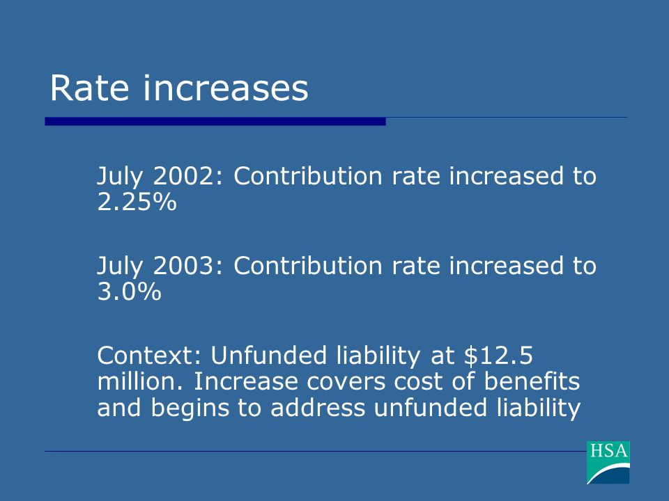 Rate increases July 2002: Contribution rate increased to 2.25% July 2003: Contribution rate increased to 3.0% Context: Unfunded liability at $12.5 mil