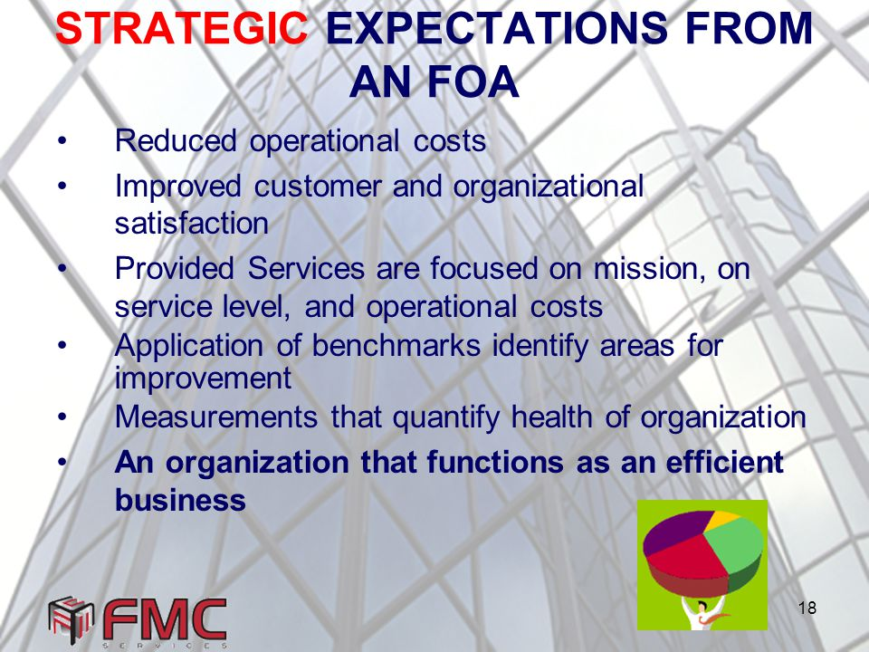 18 STRATEGIC EXPECTATIONS FROM AN FOA Reduced operational costs Improved customer and organizational satisfaction Provided Services are focused on mission, on service level, and operational costs Application of benchmarks identify areas for improvement Measurements that quantify health of organization An organization that functions as an efficient business