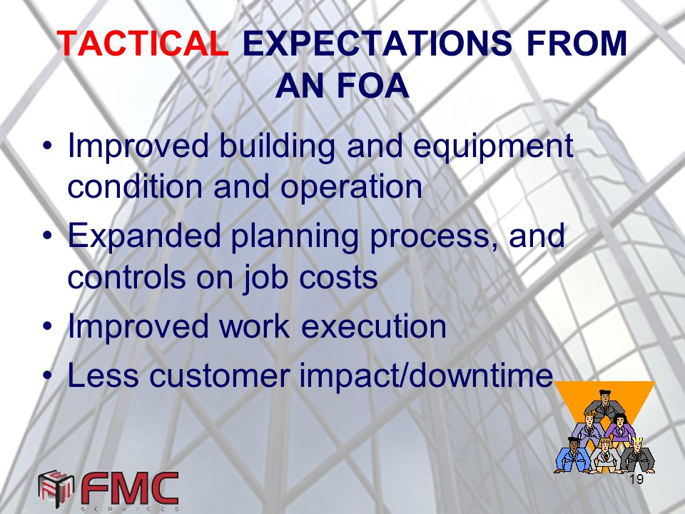 19 TACTICAL EXPECTATIONS FROM AN FOA Improved building and equipment condition and operation Expanded planning process, and controls on job costs Improved work execution Less customer impact/downtime