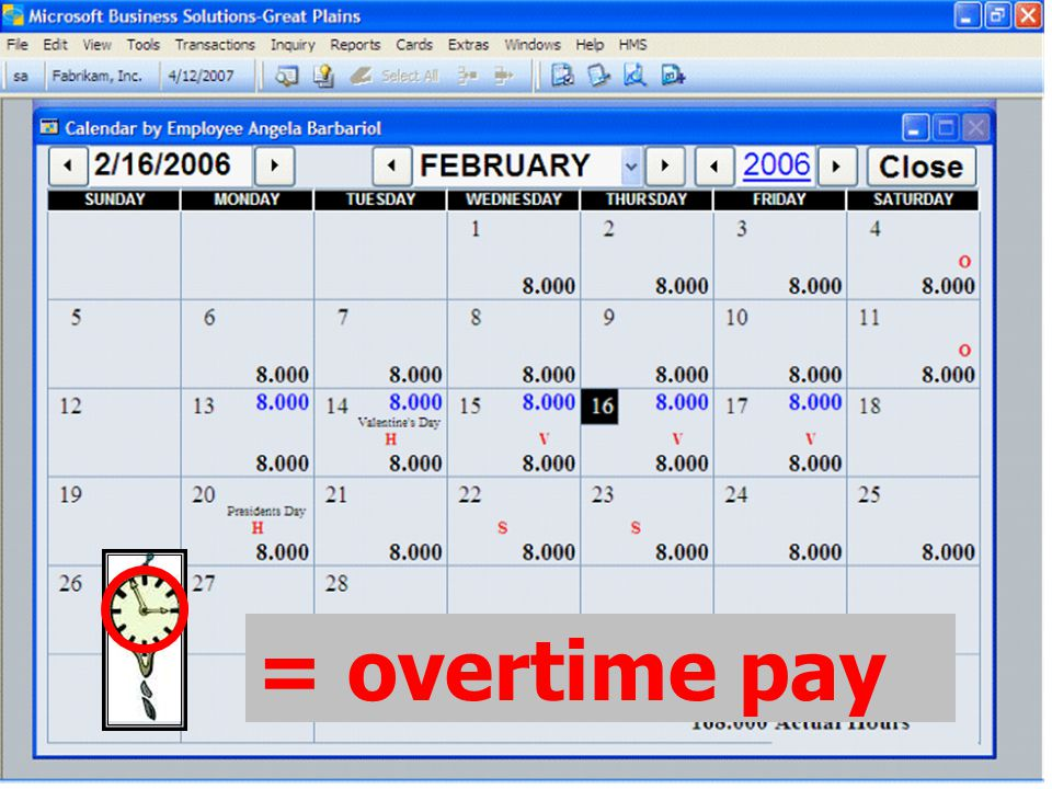 For a visual representation of their time, employees may view the calendar.