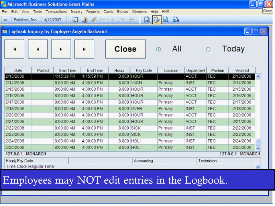 The Logbook may be accessed from both the Clock In and Clock Out Screens.