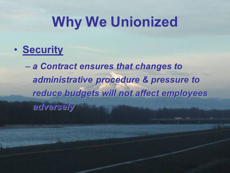 SecuritySecurity –a Contract ensures that changes to administrative procedure & pressure to reduce budgets will not affect employees adversely Why We Unionized