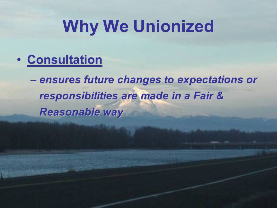 ConsultationConsultation –ensures future changes to expectations or responsibilities are made in a Fair & Reasonable way Why We Unionized