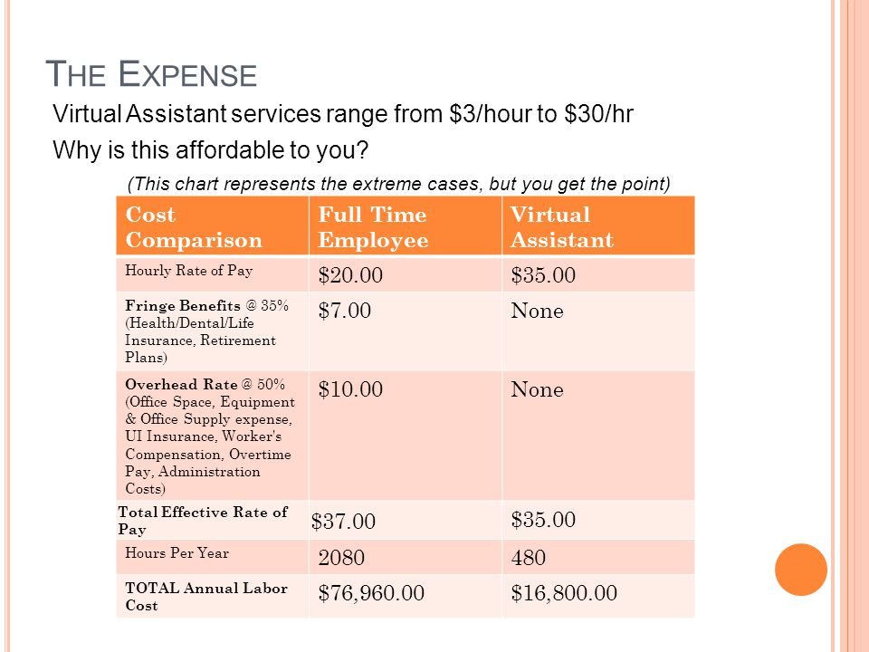T HE E XPENSE Virtual Assistant services range from $3/hour to $30/hr Why is this affordable to you.