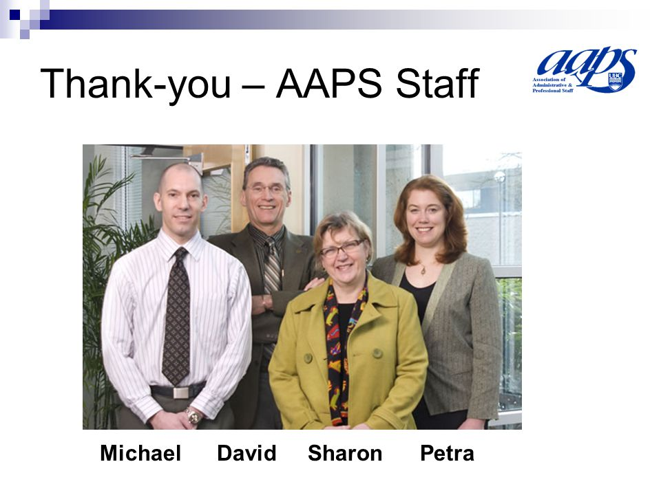 Thank-you – AAPS Staff Michael David Sharon Petra