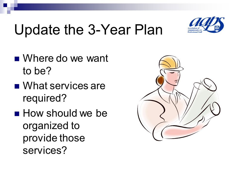 Update the 3-Year Plan Where do we want to be. What services are required.