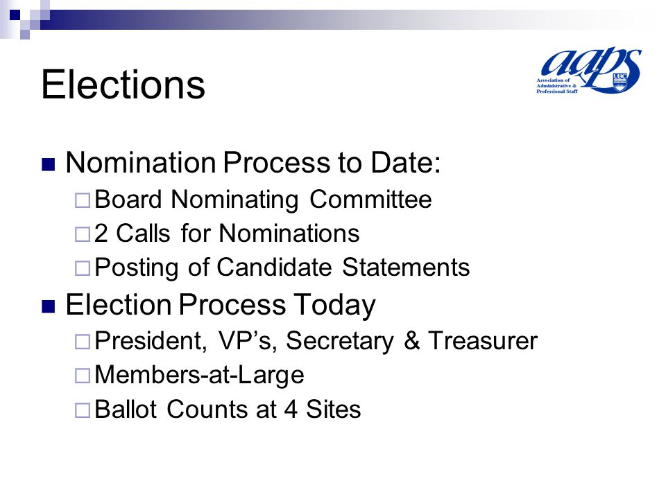 Elections Nomination Process to Date:  Board Nominating Committee  2 Calls for Nominations  Posting of Candidate Statements Election Process Today  President, VP's, Secretary & Treasurer  Members-at-Large  Ballot Counts at 4 Sites