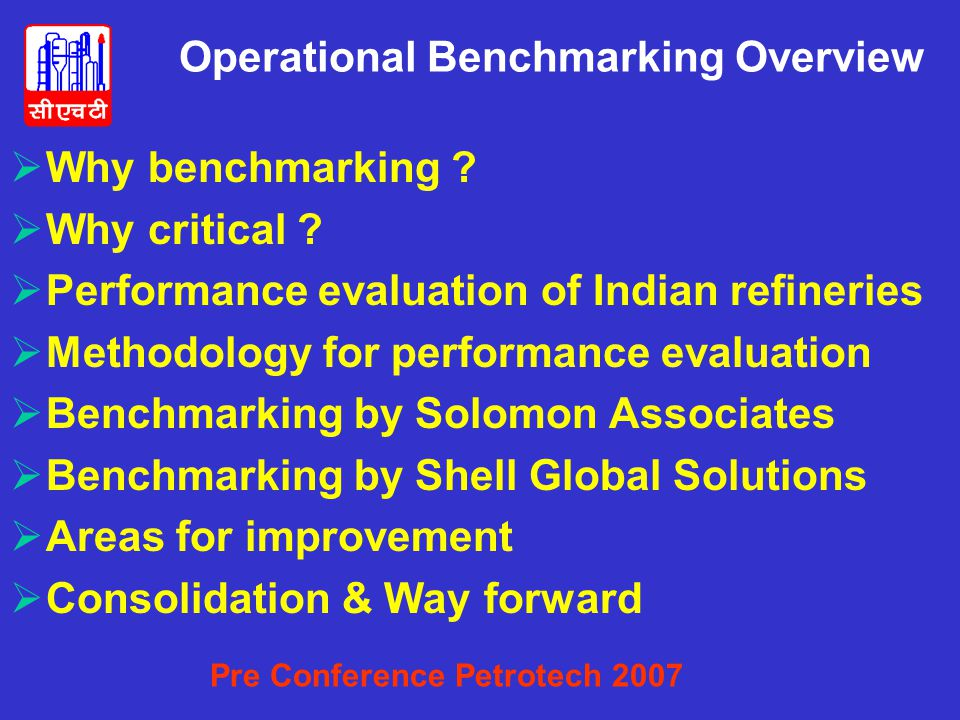 Operational Benchmarking Overview  Why benchmarking .