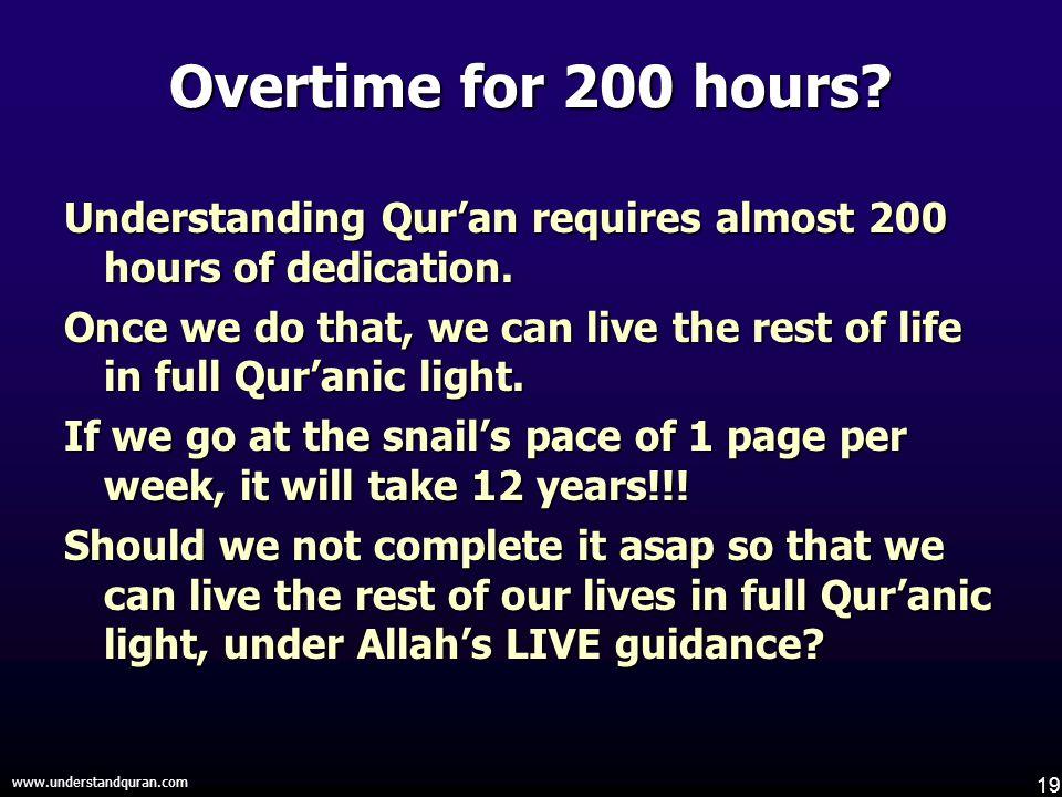 19 www.understandquran.com Overtime for 200 hours.