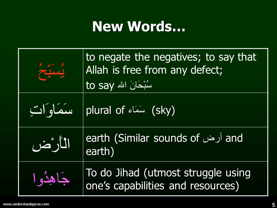 5 www.understandquran.com New Words… يُسَبِّحُ to negate the negatives; to say that Allah is free from any defect; to say سُبْحَانَ الله سَمَاوَاتِ plural of سَمَاء (sky) الْأَرْضِ earth (Similar sounds of أرض and earth) جَاهِدُوا To do Jihad (utmost struggle using one's capabilities and resources)