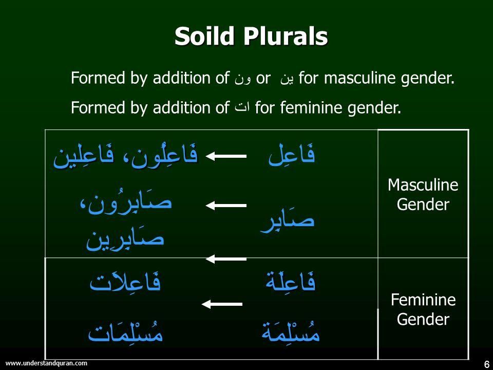 6 www.understandquran.com Soild Plurals فَاعِلُون، فَاعِلين فَاعِل Masculine Gender صَابِرُون، صَابِرِين صَابِر فَاعِلاَتفَاعِلَة Feminine Gender مُسْلِمَاتمُسْلِمَة Formed by addition of ون or ين for masculine gender.
