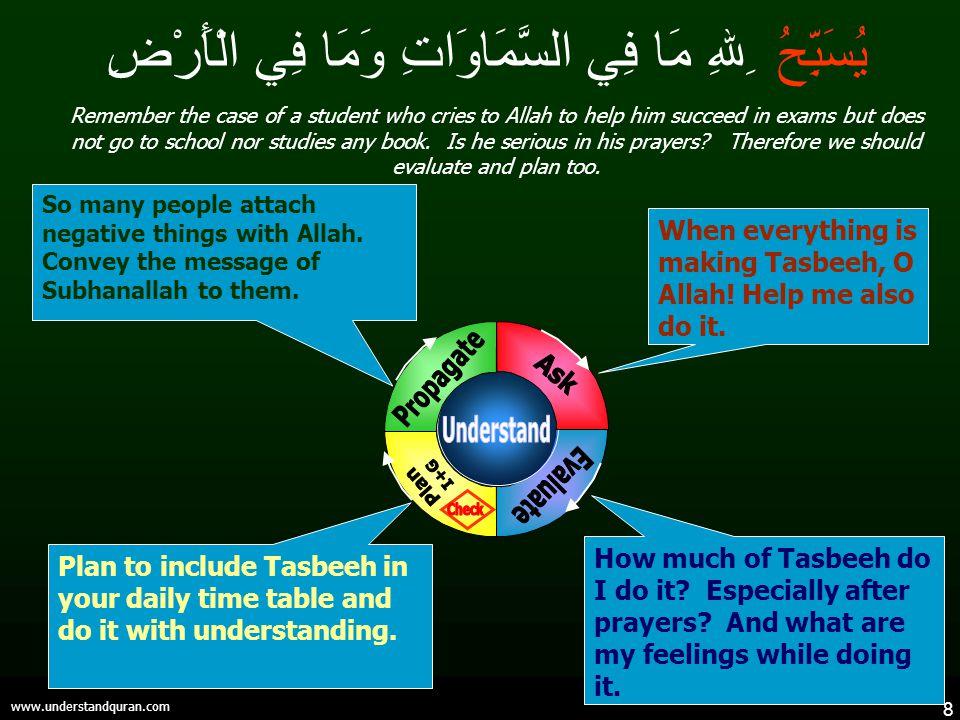 8 www.understandquran.com يُسَبِّحُ ِللهِ مَا فِي السَّمَاوَاتِ وَمَا فِي الْأَرْضِ How much of Tasbeeh do I do it.