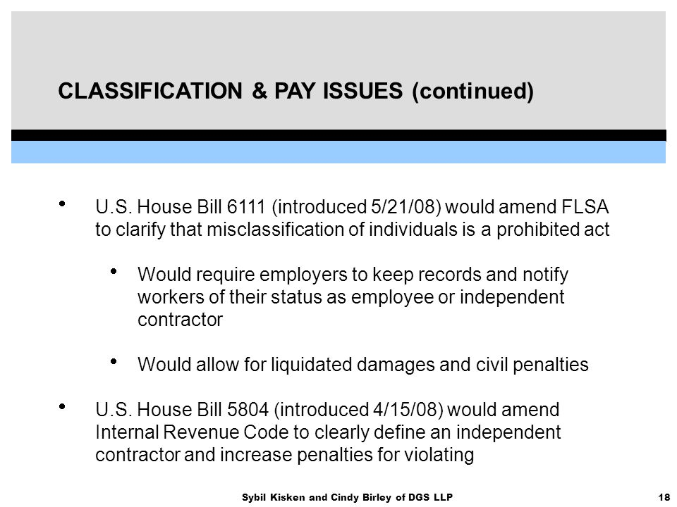 18Sybil Kisken and Cindy Birley of DGS LLP CLASSIFICATION & PAY ISSUES (continued)  U.S. House Bill 6111 (introduced 5/21/08) would amend FLSA to cla