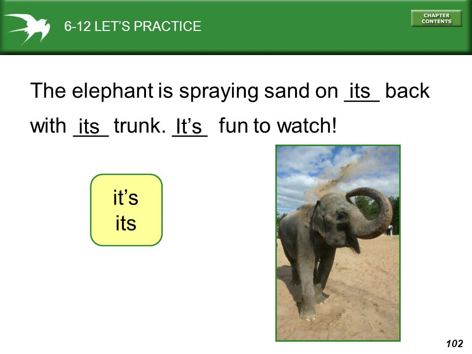 102 6-12 LET'S PRACTICE it's its The elephant is spraying sand on ___ back with ___ trunk. ___ fun to watch! It's its