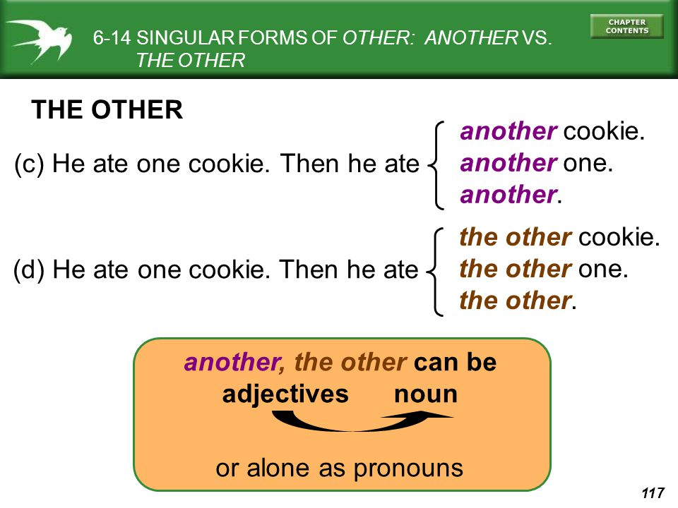 117 another, the other can be adjectives noun 6-14 SINGULAR FORMS OF OTHER: ANOTHER VS. THE OTHER (c) He ate one cookie. another cookie. another one.