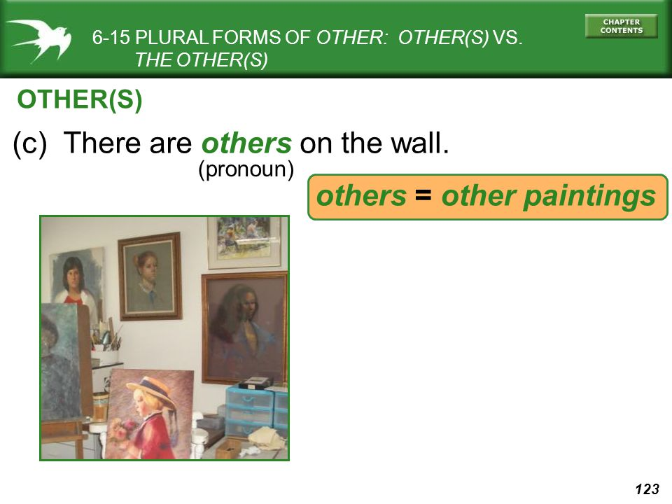 123 6-15 PLURAL FORMS OF OTHER: OTHER(S) VS. THE OTHER(S) (c) There are others on the wall.