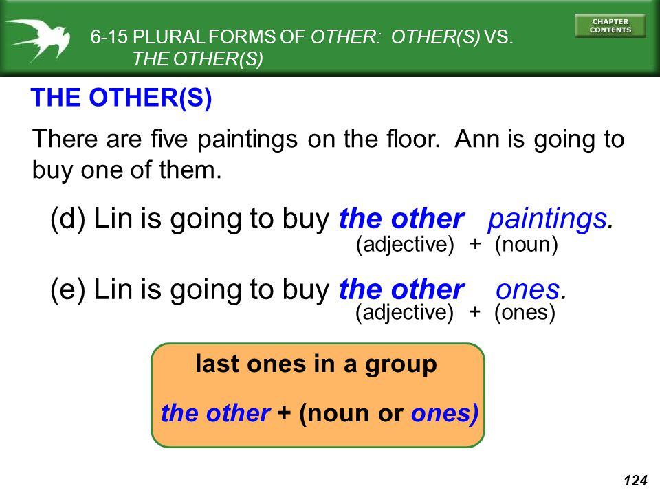 124 6-15 PLURAL FORMS OF OTHER: OTHER(S) VS. THE OTHER(S) There are five paintings on the floor.