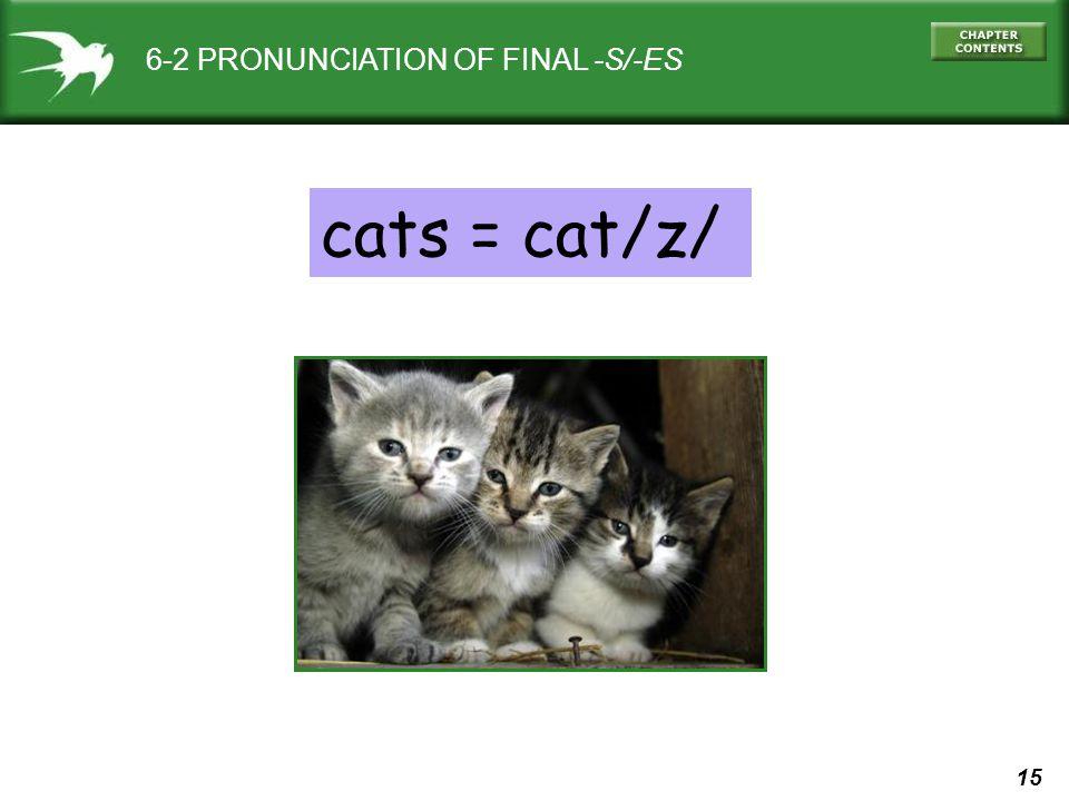 15 6-2 PRONUNCIATION OF FINAL -S/-ES cats = cat/z/