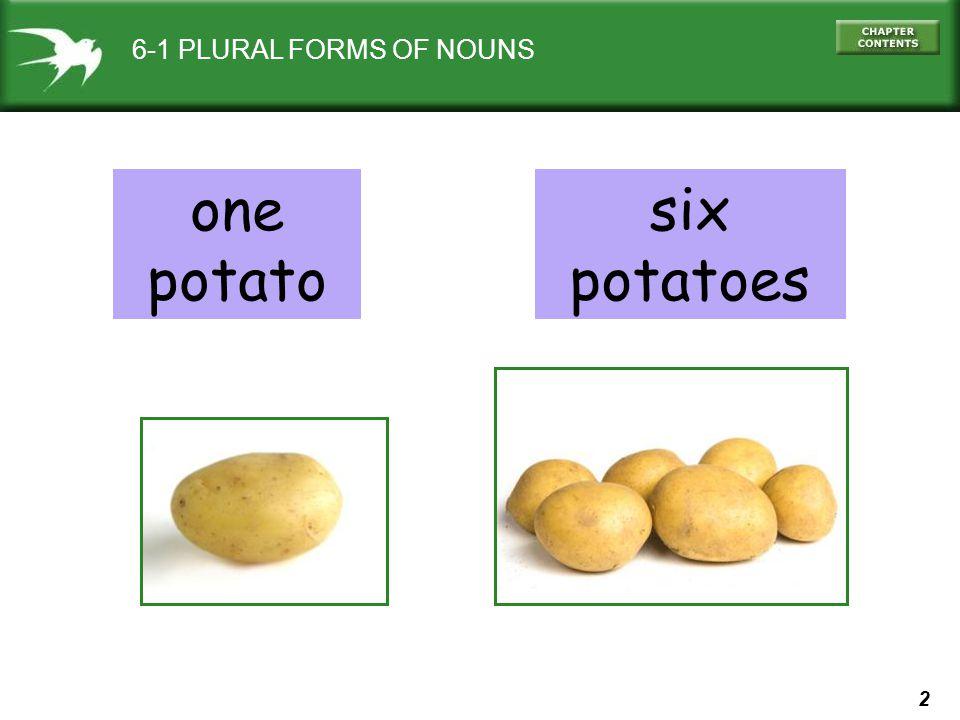 2 6-1 PLURAL FORMS OF NOUNS one potato six potatoes