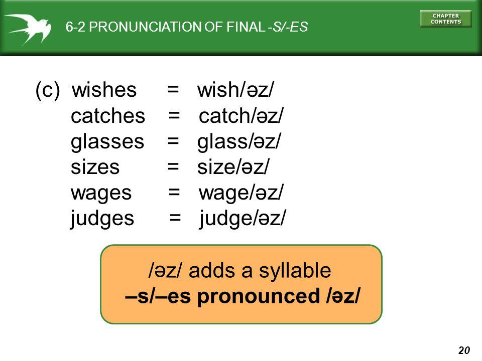 20 6-2 PRONUNCIATION OF FINAL -S/-ES (c) wishes = wish/ z/ catches = catch/ z/ glasses = glass/ z/ sizes = size/ z/ wages = wage/ z/ judges = judge/ z/ / z/ adds a syllable –s/–es pronounced / z/ ә ә ә ә ә ә ә ә