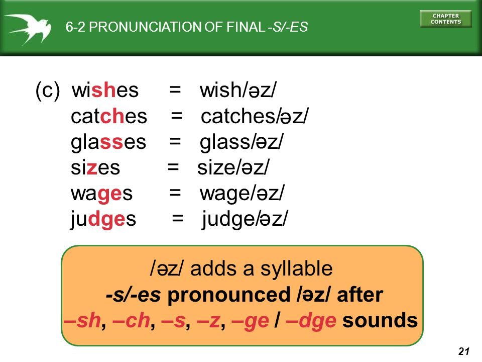 21 6-2 PRONUNCIATION OF FINAL -S/-ES (c) wishes = wish/ z/ catches = catches/ z/ glasses = glass/ z/ sizes = size/ z/ wages = wage/ z/ judges = judge/ z/ ә ә ә ә ә ә / z/ adds a syllable -s/-es pronounced / z/ after –sh, –ch, –s, –z, –ge / –dge sounds ә ә