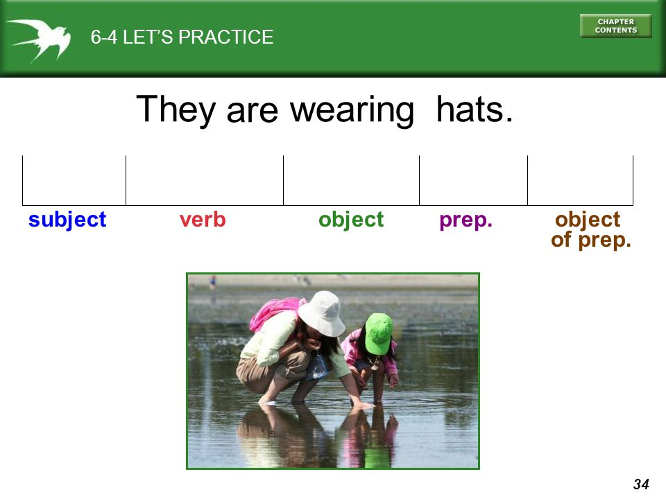 34 6-4 LET'S PRACTICE They are subject verb object prep. object of prep. hats.wearing