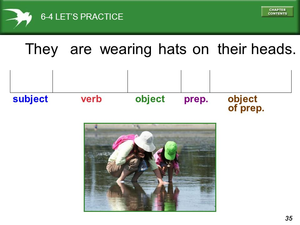 35 6-4 LET'S PRACTICE Theyare subject verb object prep. object of prep. hatswearingontheir heads.