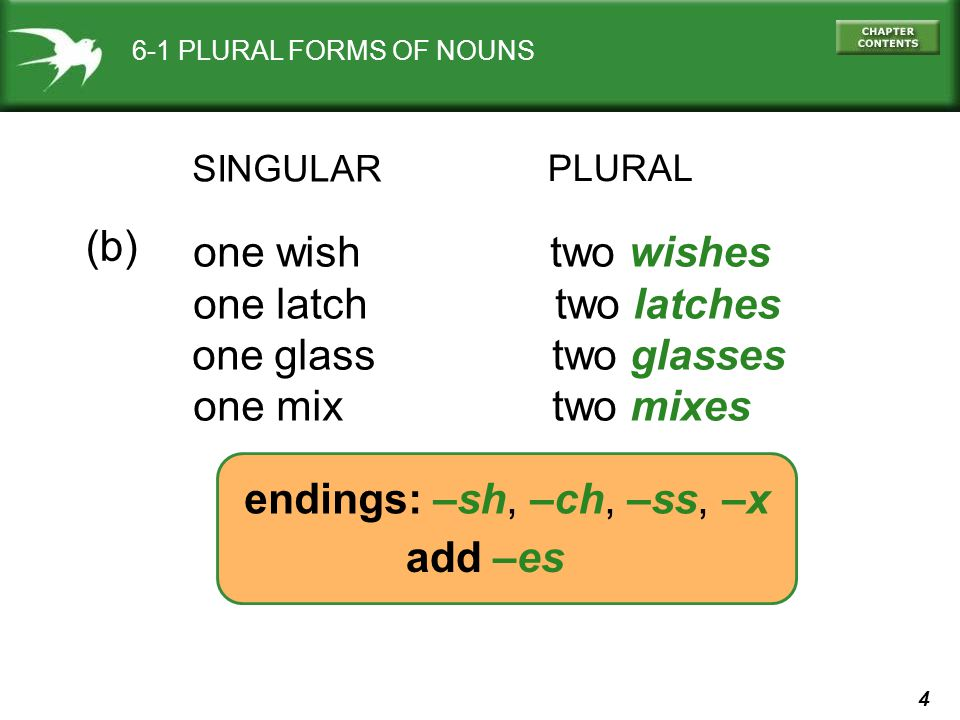 4 6-1 PLURAL FORMS OF NOUNS SINGULAR PLURAL one wish two wishes one latch two latches one glass two glasses one mix two mixes (b) add –es endings: –sh