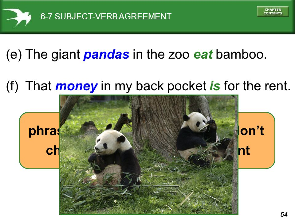 54 6-7 SUBJECT-VERB AGREEMENT (e) The giant pandas in the zoo eat bamboo. (f) That money in my back pocket is for the rent. phrases between subject &