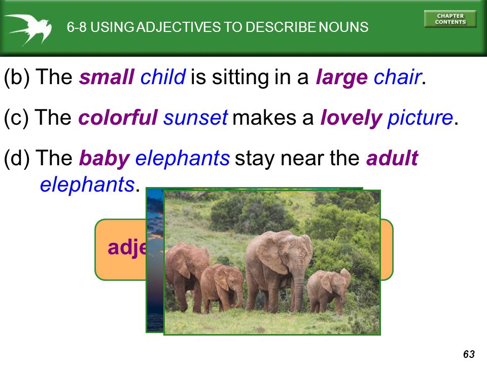63 6-8 USING ADJECTIVES TO DESCRIBE NOUNS (b) The small child is sitting in a large chair. (c) The colorful sunset makes a lovely picture. (d) The bab