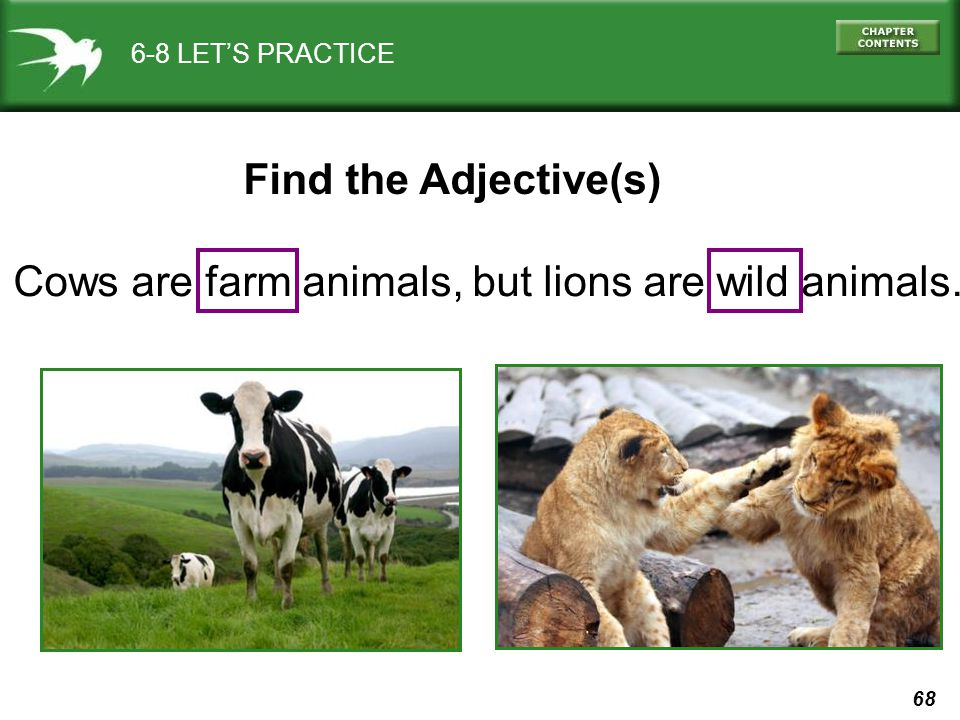 68 6-8 LET'S PRACTICE Cows are farm animals, but lions are wild animals. Find the Adjective(s)