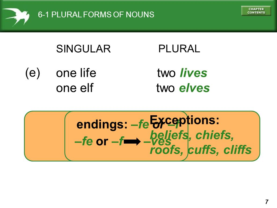 7 6-1 PLURAL FORMS OF NOUNS SINGULAR PLURAL one life two lives one elf two elves (e) –fe or –f –ves endings: –fe or –f Exceptions: beliefs, chiefs, roofs, cuffs, cliffs