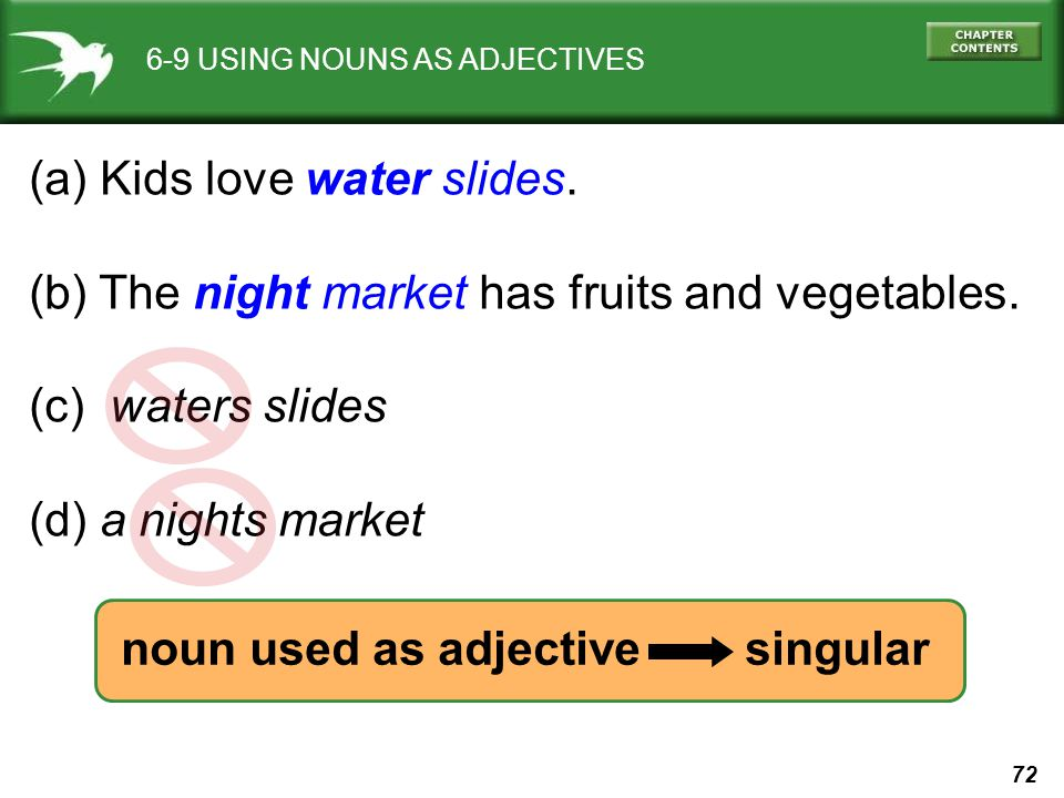 72 6-9 USING NOUNS AS ADJECTIVES (a) Kids love water slides.