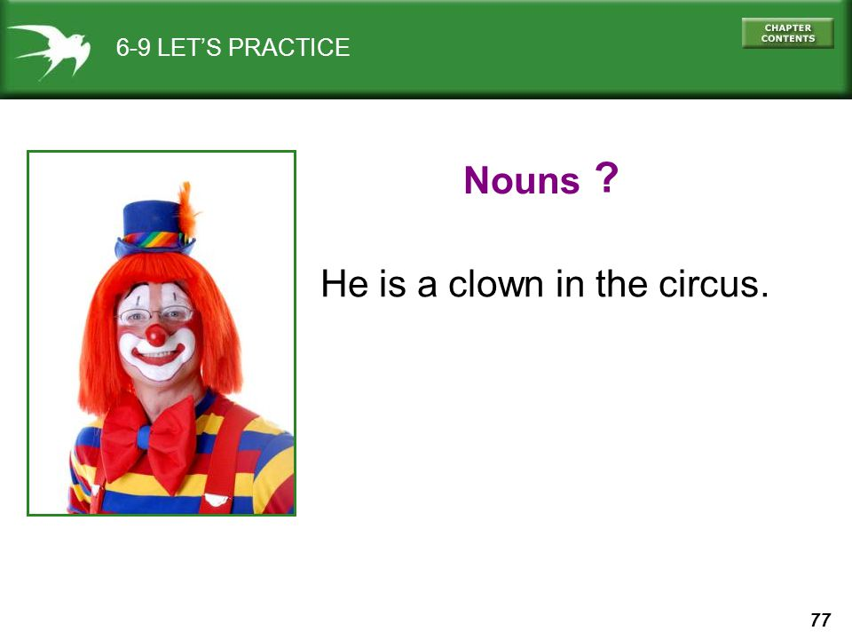 77 6-9 LET'S PRACTICE He is a clown in the circus. Nouns