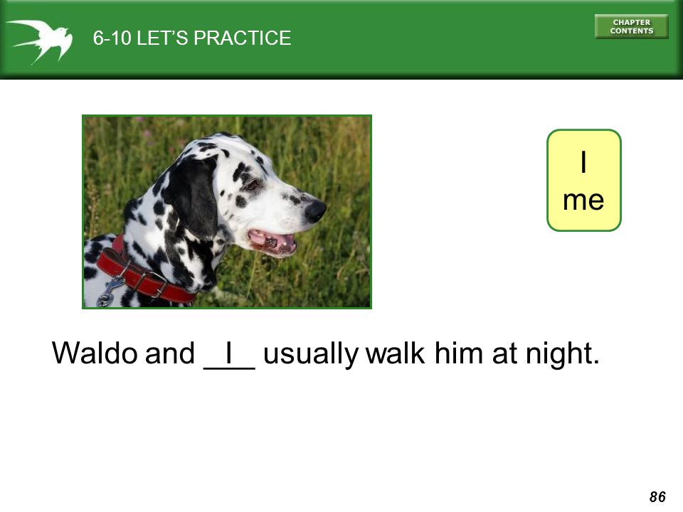86 6-10 LET'S PRACTICE I me Waldo and ___ usually walk him at night.I