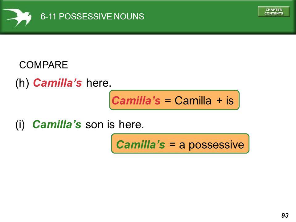 93 6-11 POSSESSIVE NOUNS COMPARE (h) Camilla's here.
