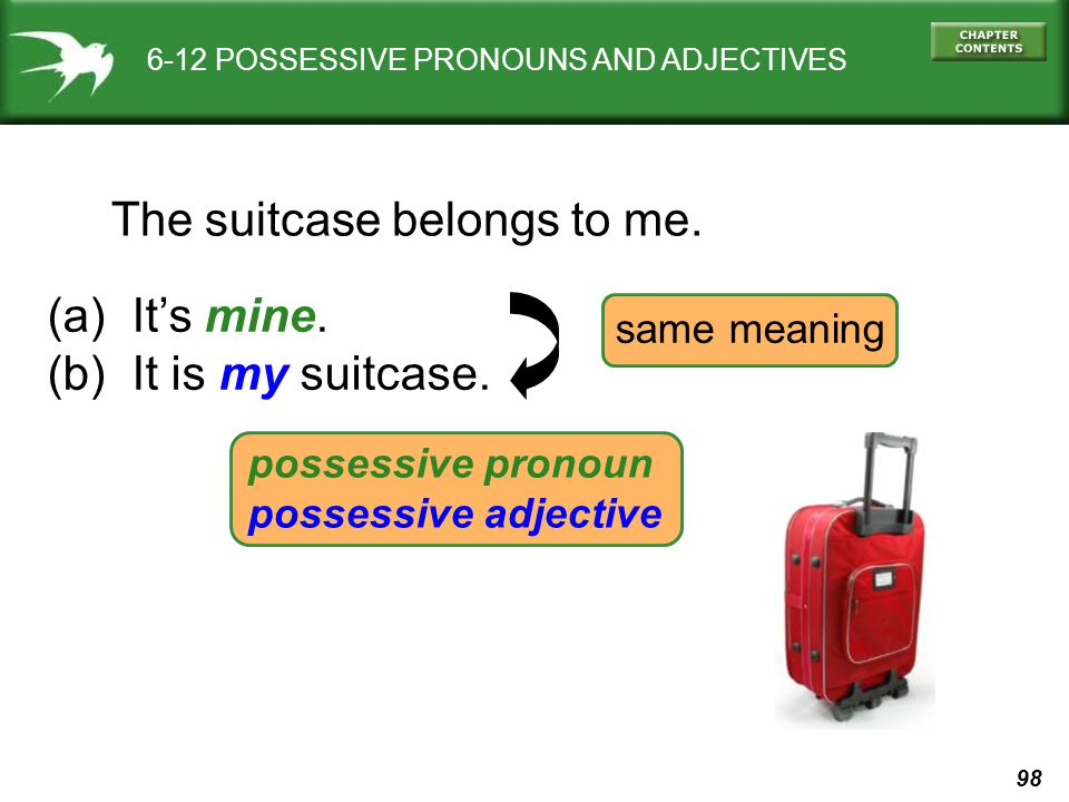 98 6-12 POSSESSIVE PRONOUNS AND ADJECTIVES The suitcase belongs to me. (a) It's mine. (b) It is my suitcase. same meaning possessive pronoun possessiv