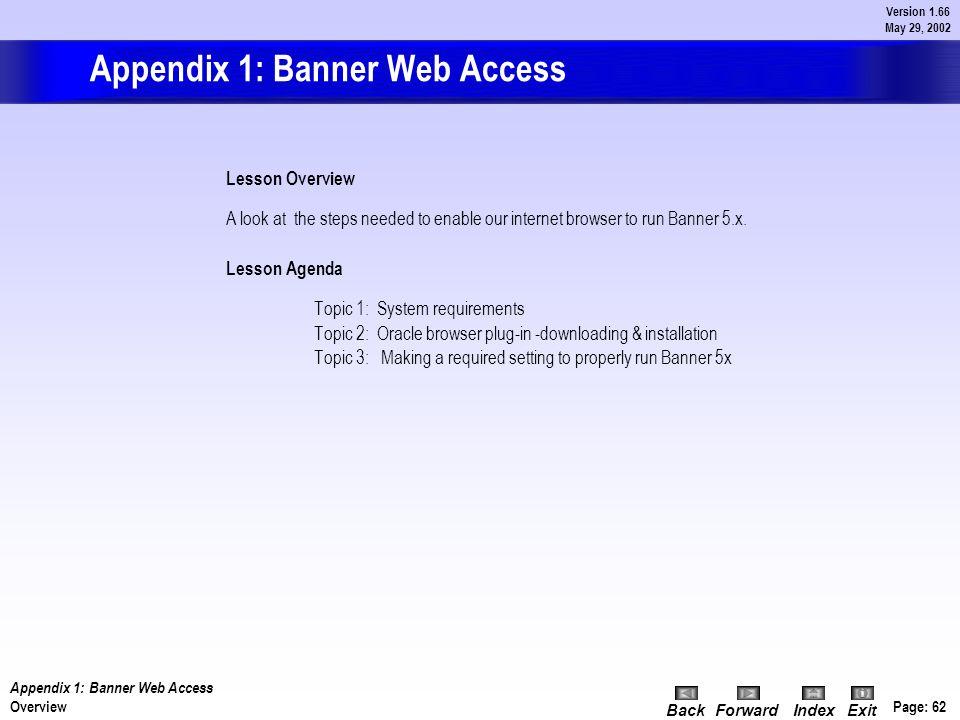 Appendix - Banner Web Access Page: 61 BackForwardIndex Exit