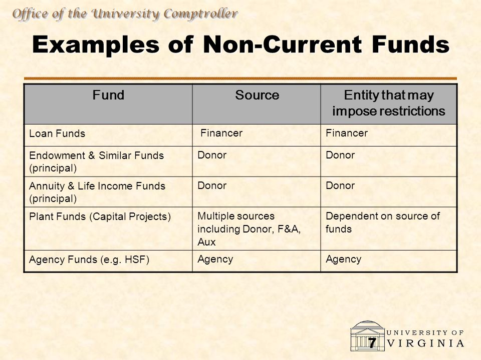 7 Examples of Non-Current Funds FundSourceEntity that may impose restrictions Loan Funds Financer Endowment & Similar Funds (principal) Donor Annuity