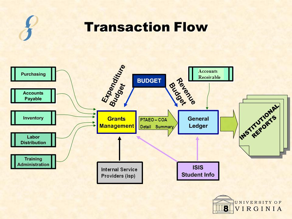 8 Transaction Flow PTAEO – COADetail Summary INSTITUTIONAL REPORTS Expenditure Budget Revenue Budget Accounts Receivable