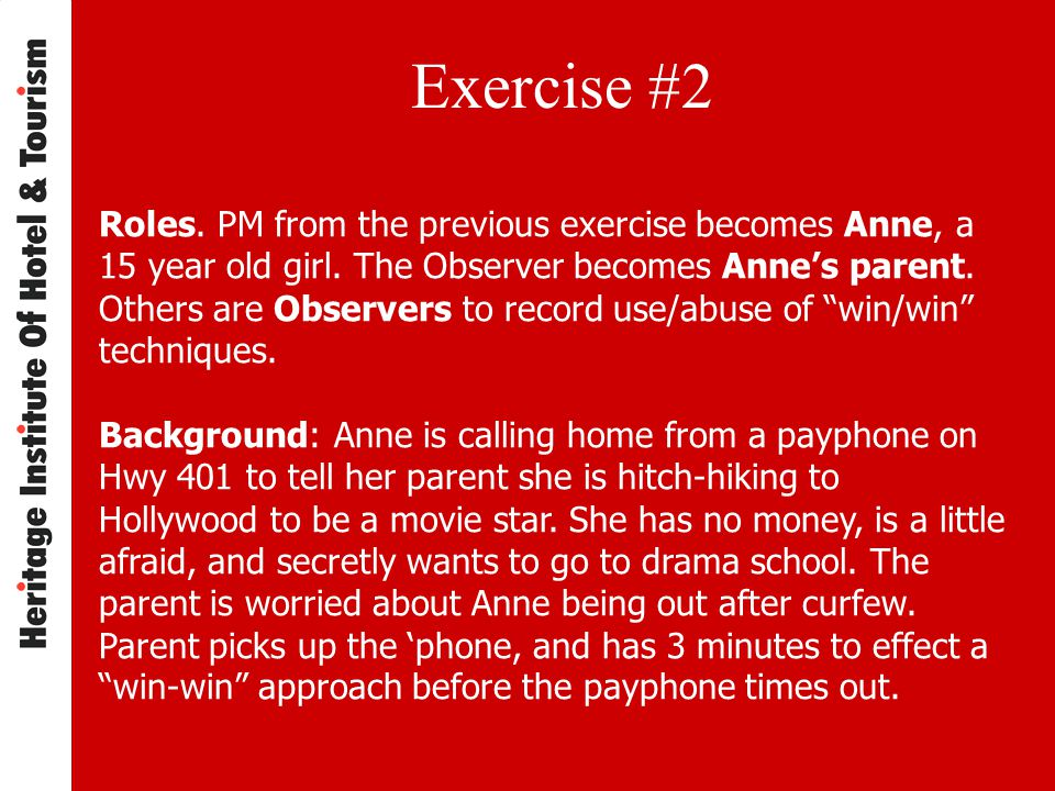 Exercise #2 Roles.PM from the previous exercise becomes Anne, a 15 year old girl.