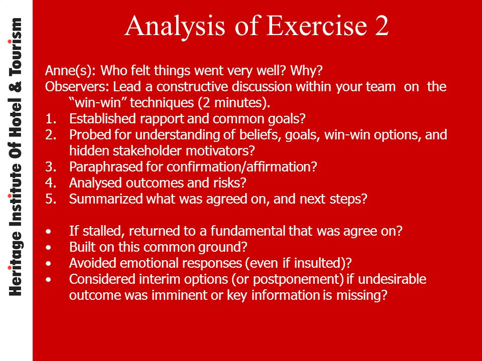 Analysis of Exercise 2 Anne(s): Who felt things went very well.