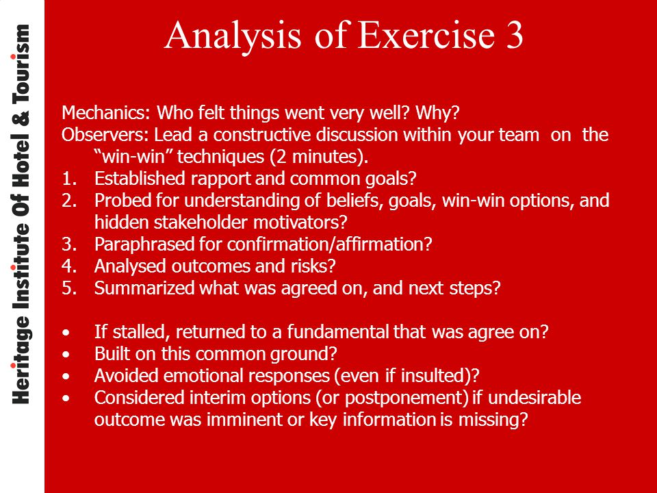 Analysis of Exercise 3 Mechanics: Who felt things went very well.